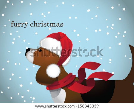 furry christmas beagle in santa claus hat eps 10 vector grouped for easy editing - Christmas Furry