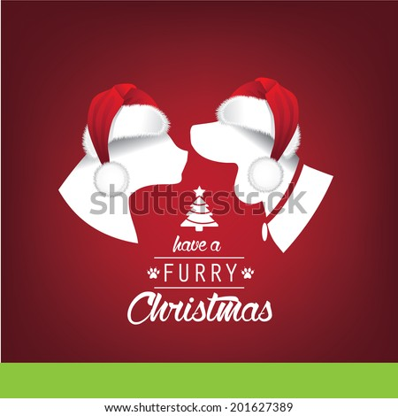 furry christmas santa hats greeting card design eps 10 vector grouped for easy editing - Christmas Furry