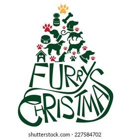 Furry Christmas Tree greeting card design. EPS 10 vector.