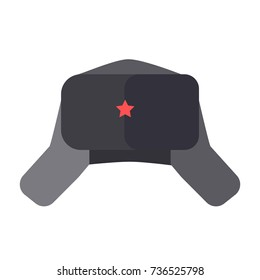 Furry hat with ear flaps and red star on front