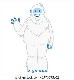 furry yeti with smile saying hi vector cartoon illustration mascot
