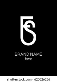 Fused letters F and S for logo fashion companies on black background
