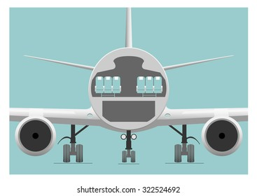 Fuselage cross section.  Vector illustration. EPS 10, opacity