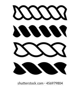 fusilli pasta black line icon vector