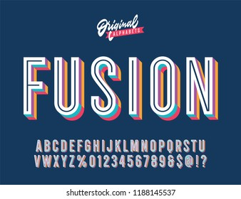 """Fusion"" Vintage 3D Inline Condensed Alphabet. Colorful Old School Retro Typography. Vector Illustration."