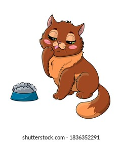 Fussy or picky hungry little cartoon cat eyeing its food in the bowl with a thoughtful expression, tongue out and paw up to groom its face isolated on white, colored cartoon vector illustration