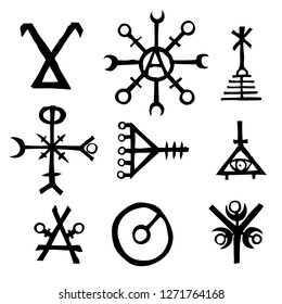 Futhark Norse island and Viking symbol set. Imaginary magic letters in hand drawing and writing symbols. Inspired by ancient Iceland and ethnic Norse Viking. Vector