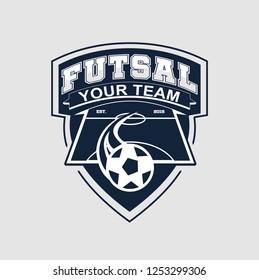 futsal logo images stock photos vectors shutterstock https www shutterstock com image vector futsal logo emblem 1253299306
