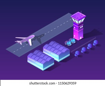Future 3d isometric airport runway airport airline terminal with aircraft aviation plane transport from smart business technology, digital modern concept background.