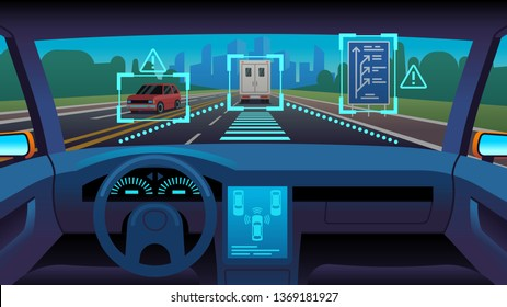 Future autonomous vehicle. Driverless car interior futuristic autonomous autopilot sensor system gps road, cartoon vector unmanned transport concept
