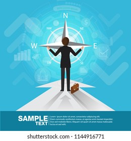 Future Business Leader Concept Finance Manager Business Man Controls compass .Flat Isometric Vector illustration.