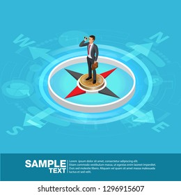 Future Business Leader Concept Finance Manager Business Man on compass.Flat Isometric People Vector Investor trader  future vision Individual success.