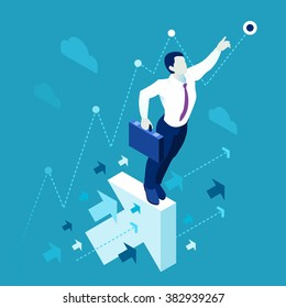Future Business Leader Concept Finance Manager Business Man. Leadership Concept Leader Manager. Flat Isometric People Executive Manager Vector Investor trader Business future vision Individual success