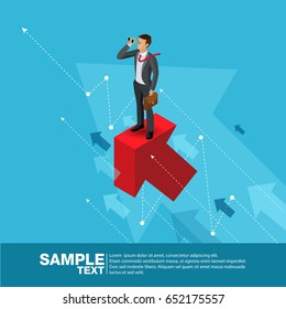 Future Business Leader Concept Finance Manager Business Man.Flat Isometric People Executive Manager Vector Investor trader Business future vision Individual success