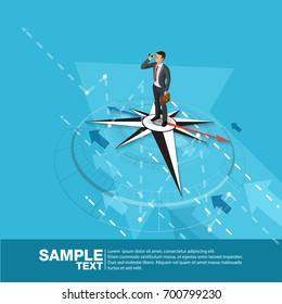 Future Business Leader Concept Finance Manager Business Man on compass.Flat Isometric People Executive Manager Vector Investor trader Business future vision Individual success
