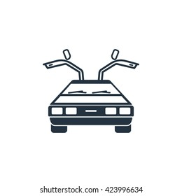 future car, delorean front icon on white background, vector