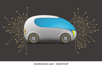 future car and electric circuit, vector illustration