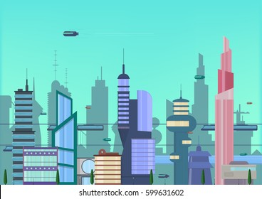 future city flat illustration. urban cityscape template with modern buildings and futuristic traffic. banner for web design.