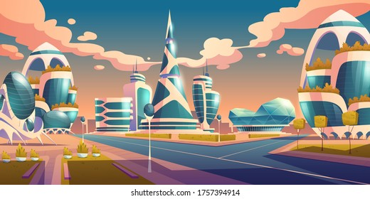 Future city, futuristic glass buildings of unusual shapes and green plants along empty road. Modern architecture towers and skyscrapers. Alien urban dwellings design, Cartoon vector illustration