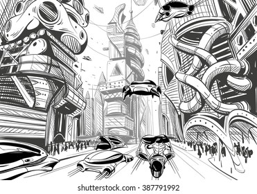 Future city hand drawn sketch. Vector illustration