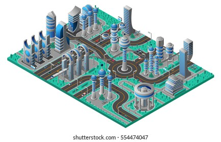 Future city isometric composition with futuristic buildings of different construction road and park vector illustration