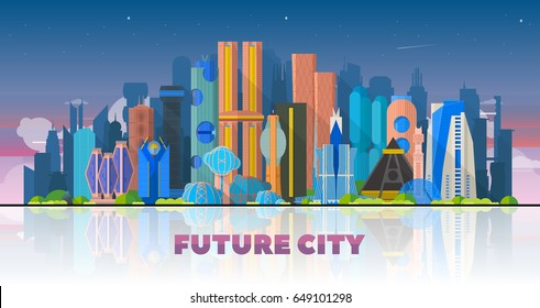Future city landscape in sky background. Urban skyline concept modern architecture. Image for presentation, banner, web site.