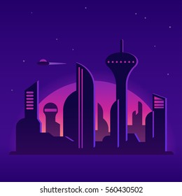 Future city night landscape illustration. Cityscape with neon lights and abstract buildings. Cartoon vector background.