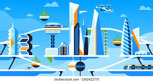 Future city panorama flat vector illustration. Sustainable metropolis, futuristic urban architecture and eco friendly vehicles. High tech transportation, electric car, flying drone and speed train