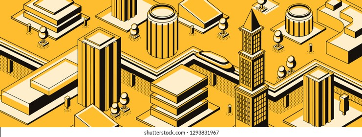Future city streets isometric vector urban background with futuristic subway train or car moving on road or rails among skyscrapers buildings line art illustration. Science fiction metropolis concept