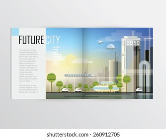 future city traffic transportation concept illustration for brochures, magazines or catalog presentations