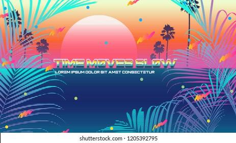 Future classic beach vaporwave background template