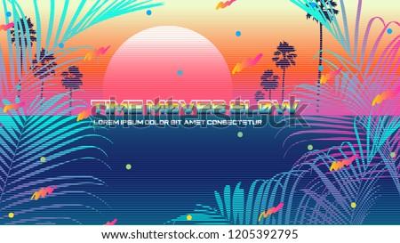 future classic beach vaporwave background template stock vector