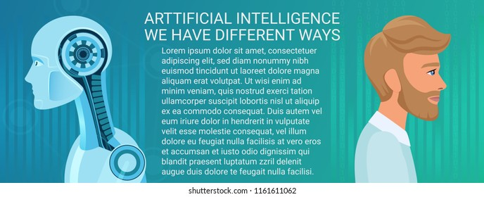 Future concept of human and robot coexistence. Different business and economics way of artificial intelligence and human intelligence.