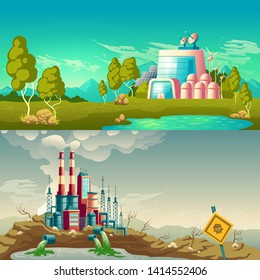 Future, ecological production and modern, polluting environment industrial technology cartoon vector concepts. Clean plant with solar panels, wind turbines, emitting toxic waste factory illustration
