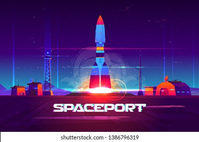 Future extraterrestrial spaceport cartoon vector banner. Heavy rocker carrier taking off from launching pad, rocketship start in night sky illustration. Space exploration, commercial starship flight