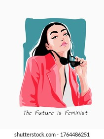 future is feminist slogan with girl and sunglasses illustration