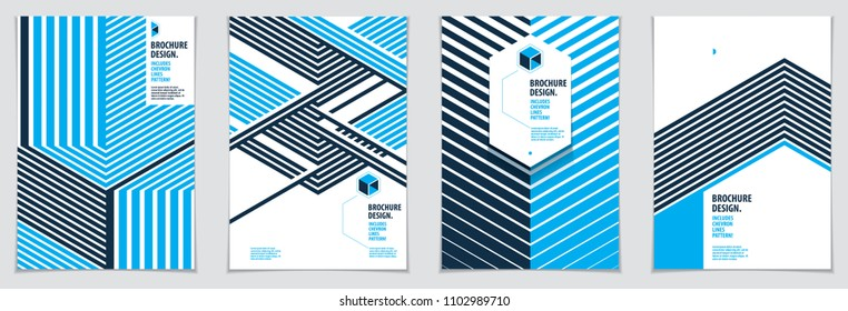 Future geometric design templates. Abstract striped textured geometric vector patterns set. Layouts for Covers, Placards, Posters, Flyers and Banner Designs. A4 print format.