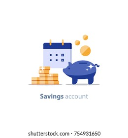 Future income, financial calendar, piggy bank annual dividends, return on investment, home budget planning, monthly payment day, pension fund savings, superannuation illustration, vector flat icon
