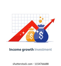Future income growth graph, money bags, return on investment chart, budget planning, time is money, arrow up, pension fund savings, superannuation illustration, vector flat icon