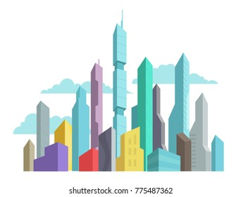 Future invented city skyscraper panorama high-rise buildings vector stock colorful illustration. Modern architecture landscape.