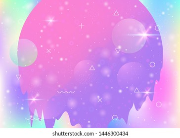 Future landscape with holographic cosmos and abstract universe background. 3d fluid. Iridescent mountain silhouette with wavy glitch. Futuristic gradient and shape. Memphis future landscape.