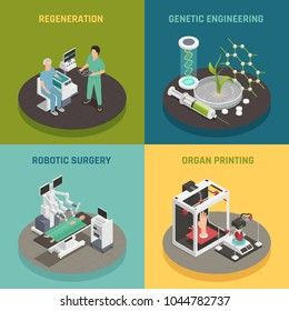 Future medical technologies concept 4 isometric icons square with organs printing regeneration robotic surgery isolated vector illustration
