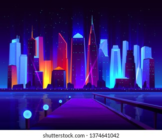 Future metropolis seafront with illuminating neon colors lights futuristic skyscrapers buildings on shore and pier on opposite bank of bay cartoon vector illustration. Modern city nightlife background