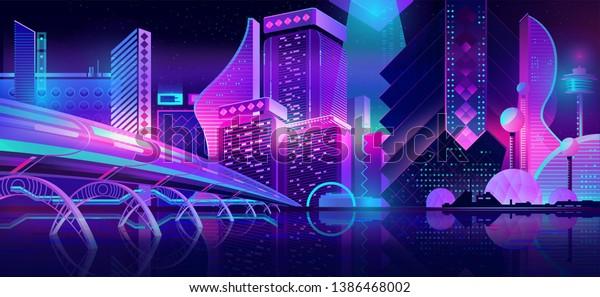 Future metropolis streets night skyline cartoon vector with illuminated blue and violet neon lights futuristic skyscrapers, bridge, subway railroad over city bay illustration. Sci-fi urban background