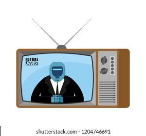 Future News TV old tv. Robot broadcasting journalist. Cyborg Anchorman in tv studio. Live broadcasting.