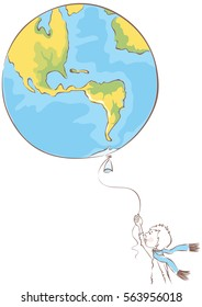 The future of our Earth / Vector illustration of planet Earth in a form a balloon, which boy holds in his hands