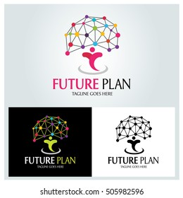 Future Plan logo design template ,Brain concept ,Vector illustration