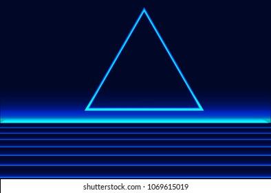Future retro line background of the 80s. Vector futuristic synth retro wave illustration in 1980s posters style