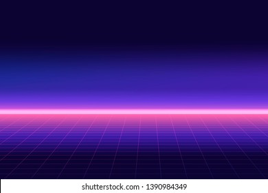 Future retro line background of the 80s. Vector futuristic synth retro wave illustration in 1980s posters style.