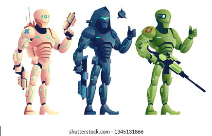 Future robotic soldiers, cyborg medic armed pistols, saboteur with shotgun and explosive, sniper with rifle cartoon vector characters isolated on white background. Shooter game units illustrations set